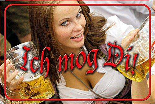 'Ich mog Di!' spruchschild, lustig, Oktoberfest, biergarten, dirndl, bier, schild aus blech