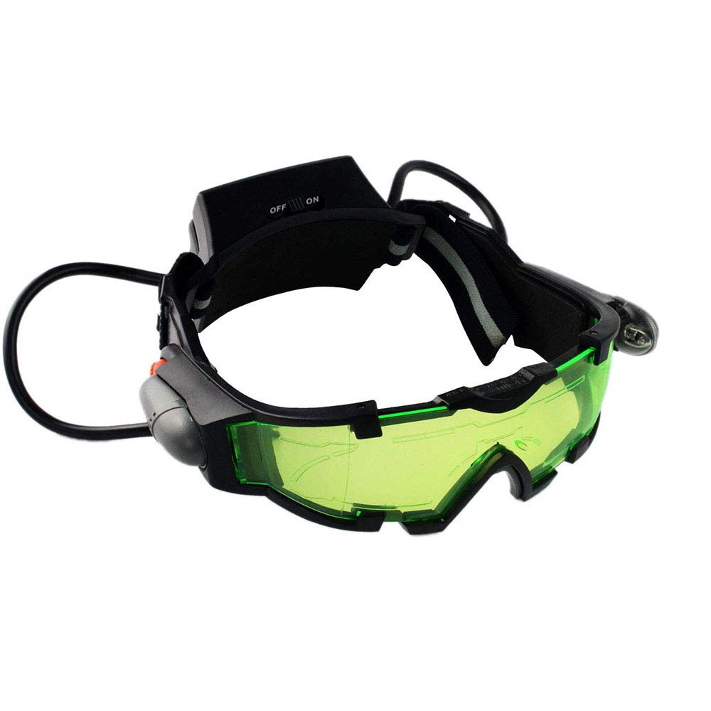 Weahre Spy Night Vision Goggles, Adjustable LED Night Goggles with Flip-Out Lights Green Lens for Kids Christmas Birthday Gifts Racing Bicycling, Skying to Protect Eyes