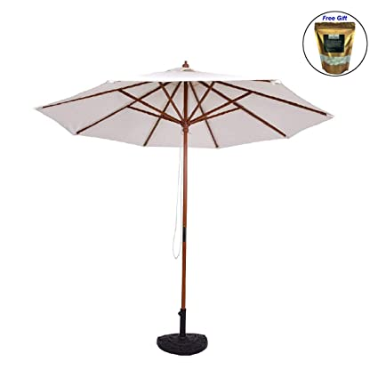 Amazon Com Eight24hours Adjustable 9ft Wooden Patio Umbrella Wood