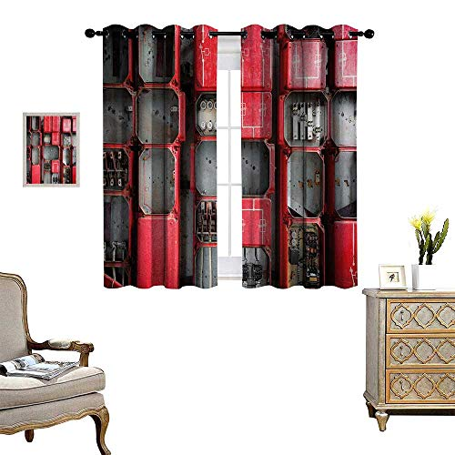 Anyangeight Industrial Window Curtain Fabric Fuse Cabinet Close Up Photo Industrial Type Junction Cables Box Electricity Drapes for Living Room W55 x L72 Red White Grey (Avalon China Cabinet)