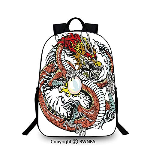 School Backpack,Traditional Chinese Creature Holding A Large Pearl Zodiac Signs Folk Tattoo Graphic Decorative Travel College School Bags Multicolor