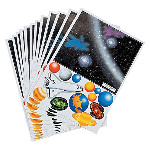 Kicko Make a Solar System Sticker - Set of 48 Cute Stickers Scene for Birthday Treat, Goody Bags, School Activity, Group Projects, Room Decor, Arts and Crafts
