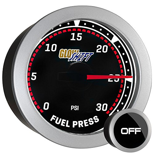 GlowShift Tinted Series 30 PSI Fuel Pressure Gauge Kit - Includes Sensor - White LED Backlit - Smoked Lens - for Diesel Truck - 2-1/16