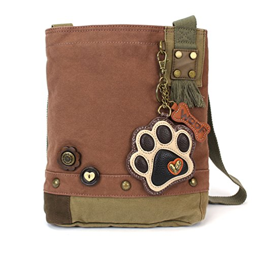 - Chala Patch Cross-Body Women Handbag, Canvas Messenger Bag - Mauve (Ivory Paw Print)