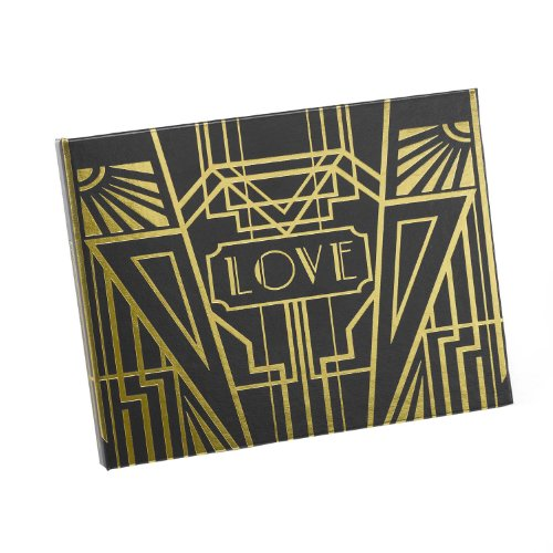 Hortense B Hewitt Art Deco Black Guest Book, Gold (Art Deco Wedding)