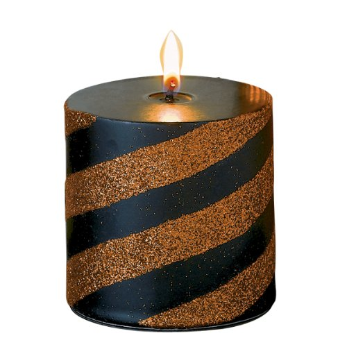 Grasslands Road All Hallow's Eve Black and Orange Glitter Striped 3-Inch (Black Striped Candle)