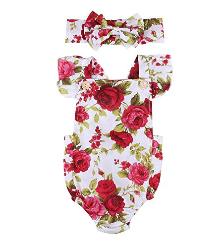 Calsunbaby Infant Baby Girls Outfit Floral Jumpsuit Romper Playsuit + Headband Clothes (Red, 0-6 Months)