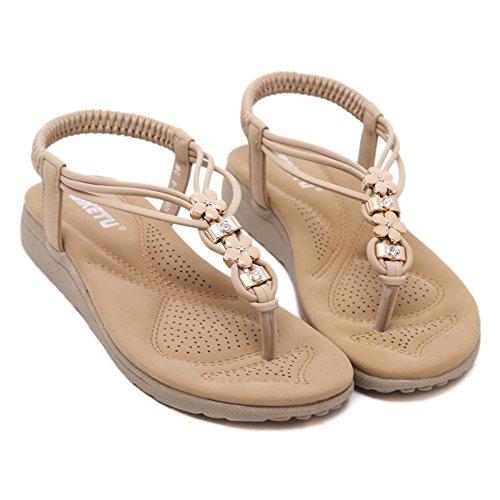 Beige Color Cómodo Tamaño Sandalias Beige EU36 Material CN35 UK3 Casual Fondo Viento Negro Opcional Suave 5 Feifei PU Mujer étnico Zapatos Cuentas de Verano con Negro 4na7U4qW