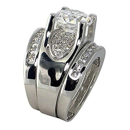 Bold Bridge Design Round-shape 3.22 Ct. Cubic Zirconia Cz Engagement Bridal Wedding 3 Pc. Ring Set (Center Stone 2.5 Cts.)