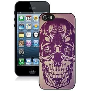 NEW Unique Custom Designed iPhone 5S Phone Case With Skull Artwork Purple Illustration_Black Phone Case