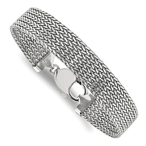ICE CARATS 925 Sterling Silver Link Mesh 7.5 Inch Bracelet Fancy by ICE CARATS