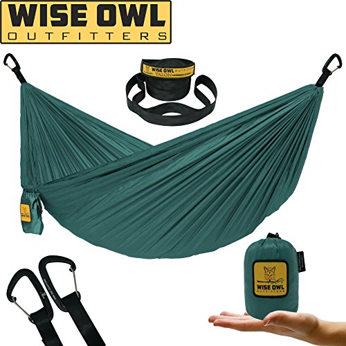 Wise Owl Outfitters Ultralight Camping Hammock with Tree Straps - Feather Light Lightweight Compact Durable Ripstop Parachute Nylon Hammocks - Outdoor Travel Backpacking Hiking – Green