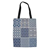 IPrint Arabian,Arabesque Islamic Motifs with Geometric Lines Asian Ethnic Muslim Ottoman Element,Blue White Printed Women Shoulder Linen Tote Shopping Bag