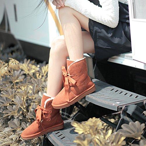 Ispessimento cotone stringate in Stivali dimensioni Donna da 38 Scarponi Studente Maroon da Scarpe Scarpe Autunno invernali Stivali Maroon neve neve Scarpe Colore z8F7nI6