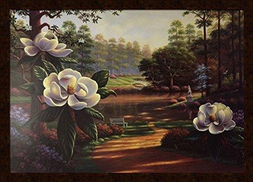US Art Tranquility (Louisiana Park & Swamp - Magnolia) - Michael Lynn 22.5x32 Distressed Mohagany Framed - Wall Decor Poster #