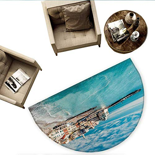 Charm Lion Italian - Italy Semicircular CushionPanorama of Old Italian Fishing Village Beach in Old Province Coastal Charm Image Entry Door Mat H 70.8