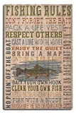 Lantern Press Fishing Rules – Rustic Typography (10×15 Wood Wall Sign, Wall Decor Ready to Hang)