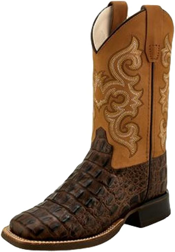 Old West Boys Gator Print Western Boot Wide Square Toe Bsc1832