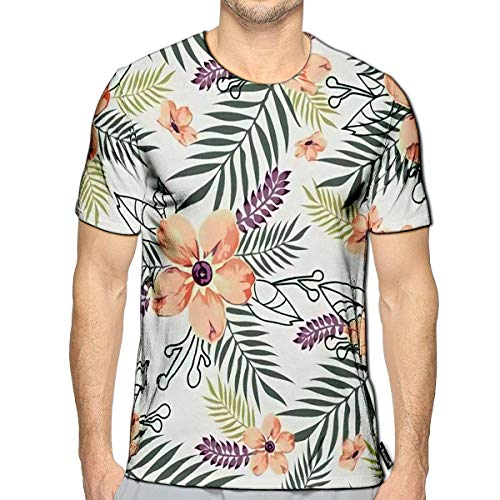 T-Shirt 3D Printed Floral in White Chalk with Peach Flowers Green Grass and - Purp Scissors