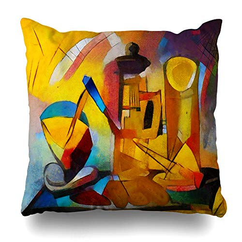 Ahawoso Throw Pillow Cover Square 18x18 Inches Impasto Classic Alternative Famous Paintings Strokes by Picasso Abstract Watercolor Oil World Angles Cushion Case Home Decor Pillowcase ()