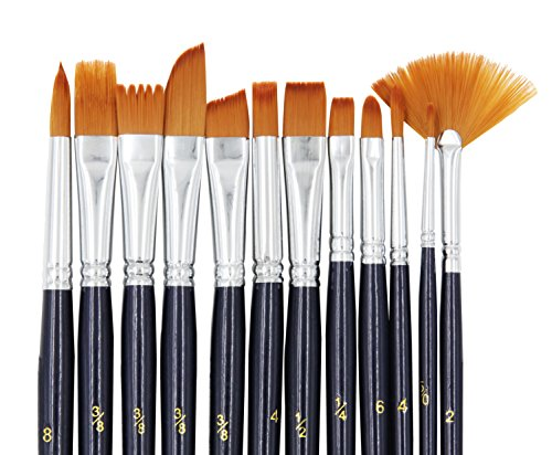 Grass Comb - StarVast Paint Brushes, 12pcs Paint Brush Set for Watercolor/Oil/Acrylic/Crafts/Rock & Face Painting