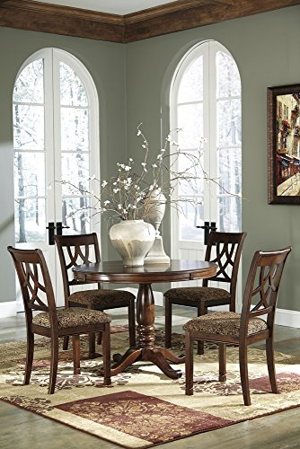 Ashley Signature Design Leahlyn Medium Brown Wood Dining Table Bundle with 2 Wood & Fabric Side Chairs