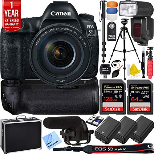 Canon 1483C010 EOS 5D Mark IV 30.4 MP Full Frame DSLR Camera Bundle with 128GB and 64GB Memory Cards, BG-E20 Battery Grip, LED Light, Microphone, 1 Year Extended Warranty and Accessories (15 Items)