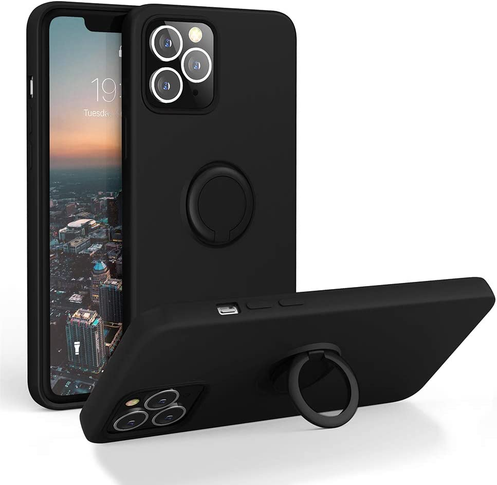 Silicone Shockproof Cover with 【Soft Anti-Scratch Microfiber Lining】 for iPhone 12 // iPhone 12 Pro 6.1 inch iPhone 12 Pro Case Black Cordking Compatible with iPhone 12 Phone Case