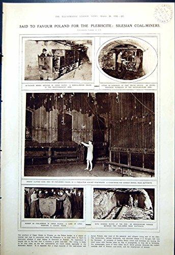 [Old Original Antique Victorian Print Upper Silesia Coal-Mining German Miners Cloakroom Costume 1921] (Coal Miner Costume)