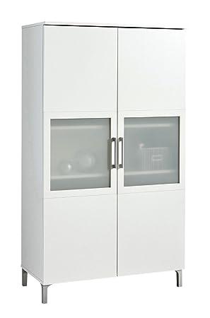 Armario Vitrina de 2 Puertas con Cristal de salón Comedor. Blanco ...
