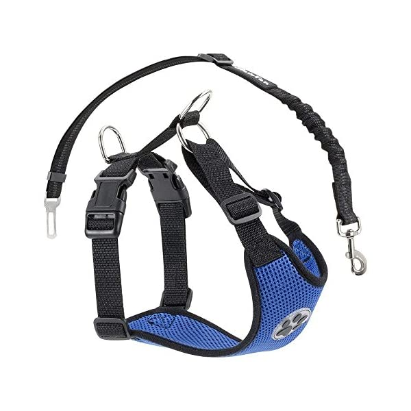 SlowTon Dog Car Harness Plus Connector Strap, Multifunction Adjustable Vest Harness Double Breathable Mesh Fabric with Car Vehicle Safety Seat Belt .(Dark Blue, Medium) 1