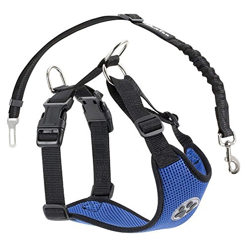 SlowTon Dog Car Harness Plus Connector Strap, Multifunction Adjustable Vest Harness Double Breathable Mesh Fabric with Car Vehicle Safety Seat Belt .(Dark Blue, Medium)