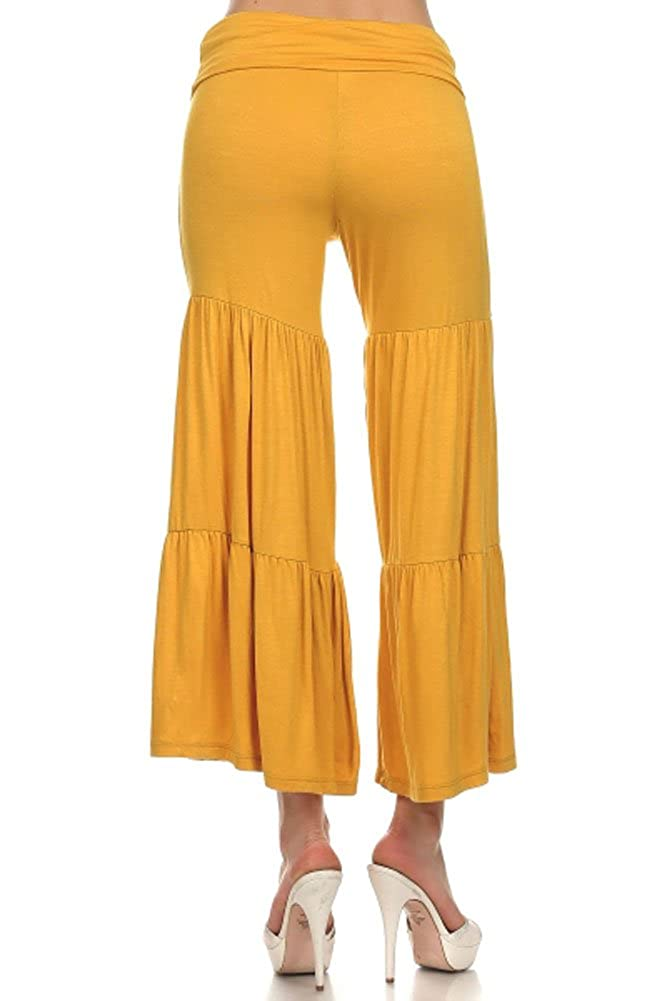 c068b771d78 (Plus Size) Pleated Crop Fold-Over Waist Self Band Palazzo Pants (MADE IN  U.S.A) at Amazon Women s Clothing store