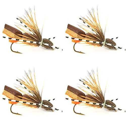 Bullethead Cicada Dry Fly Fishing Flies - 4 Flies - Hook Size 10 Rubber Legs