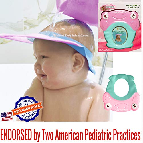 Walnut Tree Omni Bath Shower Visor Protection Soft Cap for Shower and Bath Time Safety for Toddlers, Baby and Children [1 YEAR OLD+ RECOMMENDED] (Pretty Pink)