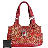 Western Tote Handbag Coin Purse Key Fob Bundle (Red CZ Studded Fabric)