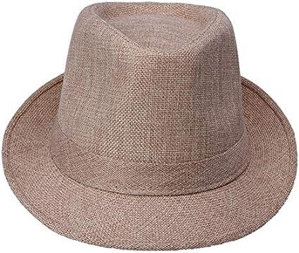 CGXBZA Spring Summer MenS Panama Hemp Bowler Sun Summer Beach Jazz Hats Topee Cap Sunhat One Size:58Cm
