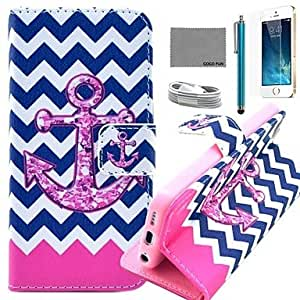 Flower Anchor Pattern PU Leather Case with Screen Protector and USB Cable and Stylus for iPhone 5/5S