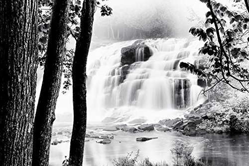 Black White Landscape Photographs - Buyartforless Waterfall Lake 36x24 Photograph Art Print Poster Black and White Landscape Peaceful Outdoors Wildlife