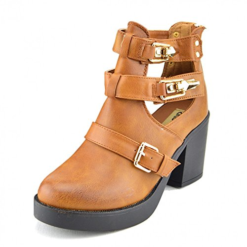Kick Footwear - Damen-Block-Heels Cut Out Ankle Boot Damen Chelsea Ankle Boots-Braun Braun