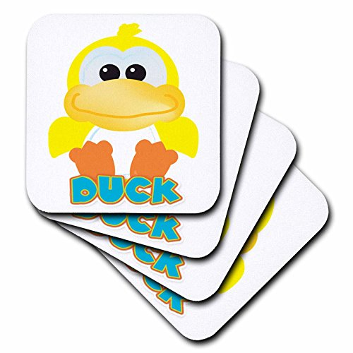 3dRose CST_102087_3 Cute Goofkins Yellow Duck Cartoon-Ceramic Tile Coasters, Set of 4