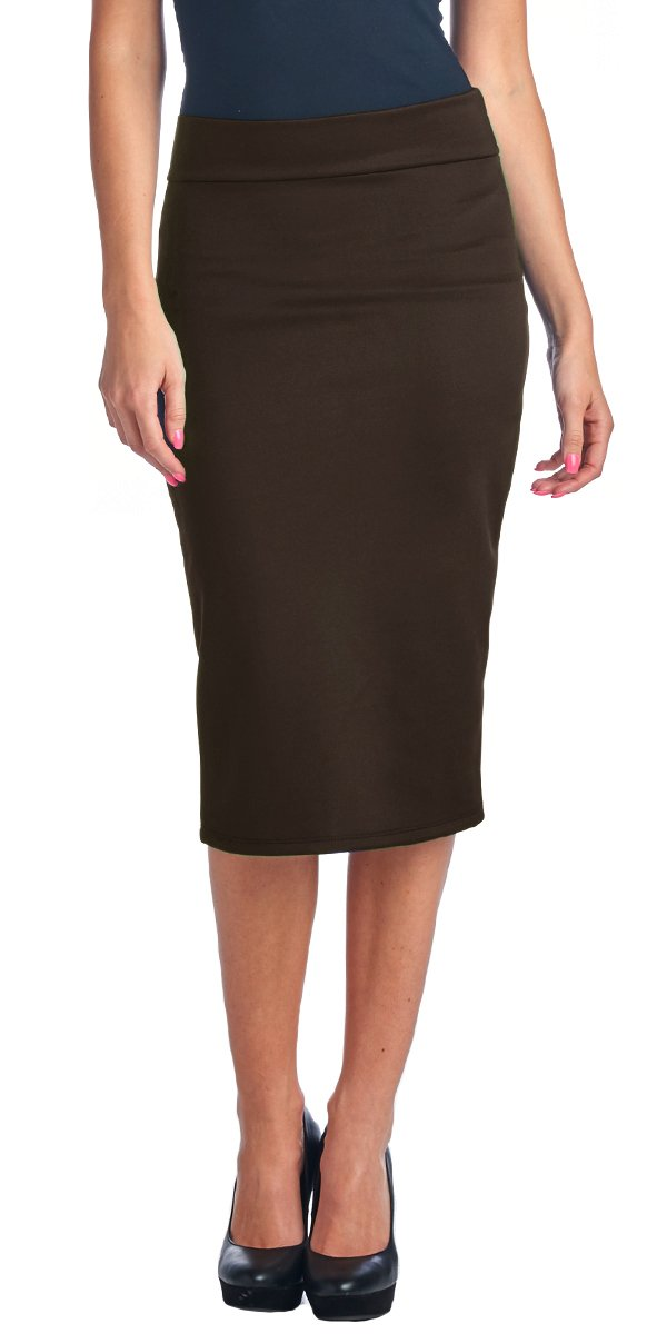 Popana Women's High Waist Knee Length Stretch Pencil Skirt - Ladies Shaping Midi Skirt For Work or Office - Made In USA Large Brown