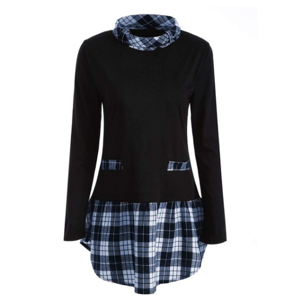 GJKK Bluse Damen Herbst Winter Langarm Plaid Patchwork Übergröße Pullover Tops Oberteil T-Shirts Sweatshirt Lose Langshirt