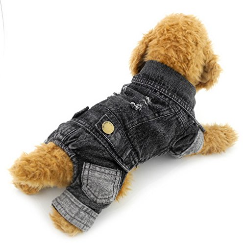 Cheap PEGASUS SELMAI Washable Dog Denim Jumpsuit Four-Legs Pants Fleece Lined Warm Pet Coat Jacket Thick Winter Doggie Chihuahua Clothes Outfits Black XXL