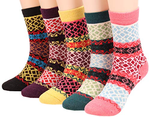 5 Pairs Womens Vintage Wool Socks Thick Knit Fall Winter Crew Socks A506