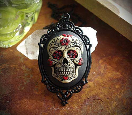 Red and Black Sugar Skull Dia De Los Muertos Day of the Dead Hand Made Cameo Necklace