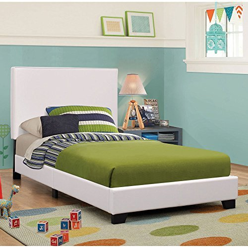 Coaster Upholstered Queen Platform Bed in White