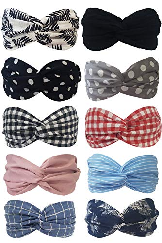 Accessory Hair Wrap (BeautyN 10 Pack Headbands for women Boho Bands Twisted Headband Criss Cross Head wraps Bows Hair Accessories for Women and Girls (10p_104))
