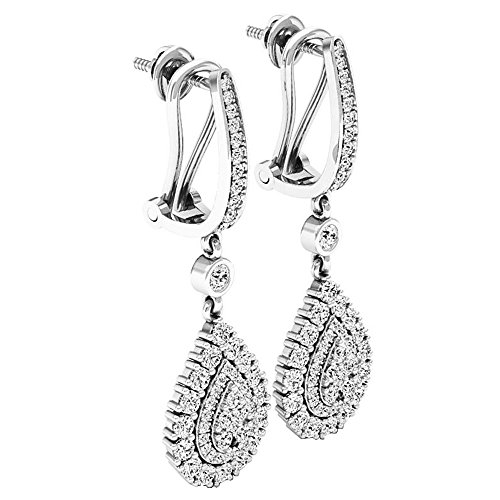 1.65 Carat (ctw) 14K Gold Round White Diamond Ladies Dangling Drop Earrings