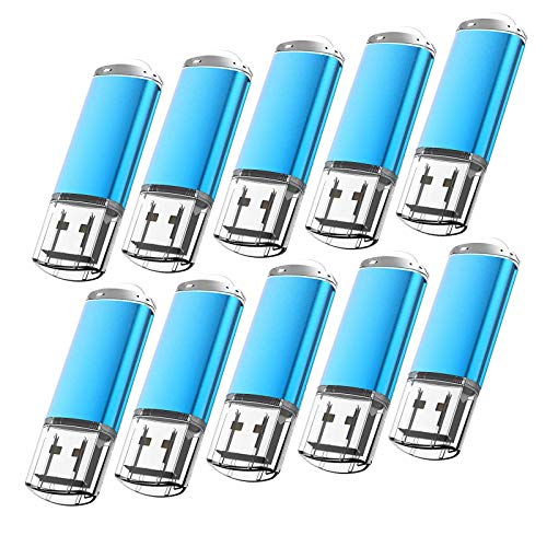 10 Pack Flash Drive 1GB USB 2.0 Thumb Drive Capped Memory Stick by Kootion, Blue